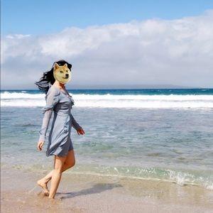 Wayf Ruffle Pastel Blue Beach Dress Size S